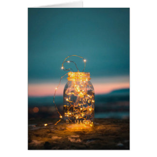 Jar with fairy lights Holiday Card