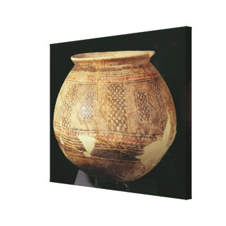 Jar with geometric decoration in the Halaf style, Canvas Print