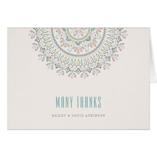Jardin Mandala Thank You Card - Turquoise