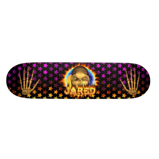 Jared skull real fire and flames skateboard design