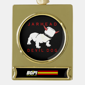 Jarhead/Devil Dog Gold-Plated Ornament Gold Plated Banner Ornament