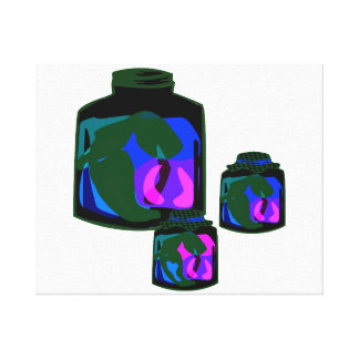 Jars of blue green purple peppers canvas prints
