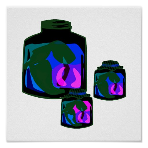 Jars of blue green purple peppers posters