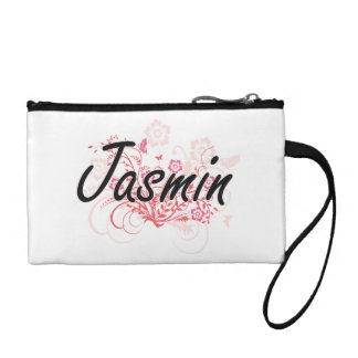 Jasmin Artistic Name Design with Flowers Change Purse