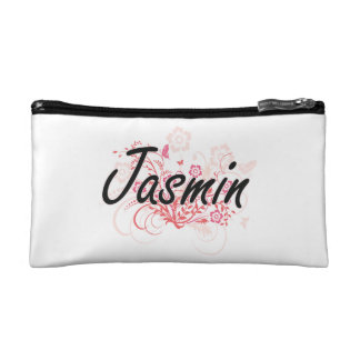 Jasmin Artistic Name Design with Flowers Cosmetics Bags