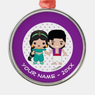 Jasmine and Aladdin Emoji Add Your Name Christmas Ornament