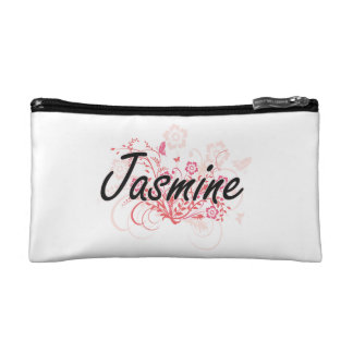 Jasmine Artistic Name Design with Flowers Cosmetic Bag
