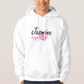Jasmine Artistic Name Design with Flowers Hoodie