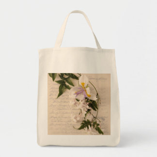 jasmine flowers and lily with script grocery bag