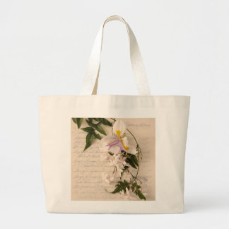 jasmine flowers and lily with script jumbo bag
