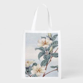 Jasmine Flowers Vintage Japanese Art Market Totes