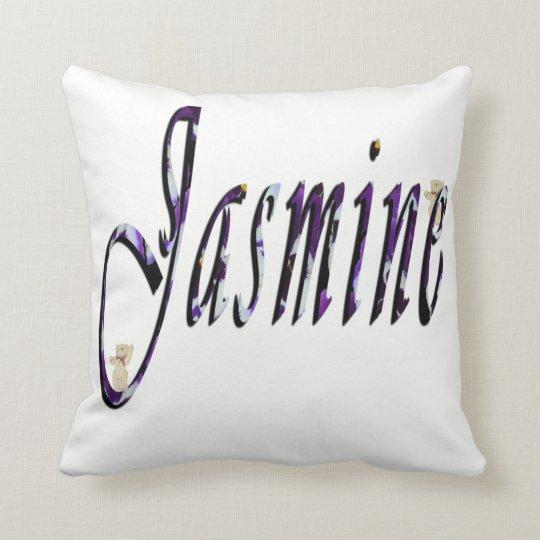 Jasmine, Name, Logo,White Throw Cushion. Cushion