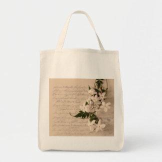 jasmine on old script handwriting grocery tote bag