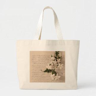 jasmine on old script handwriting jumbo tote bag