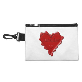 Jasmine. Red heart wax seal with name Jasmine Accessory Bag