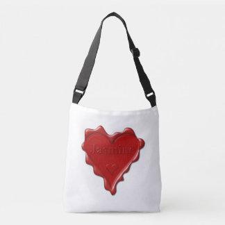 Jasmine. Red heart wax seal with name Jasmine Crossbody Bag