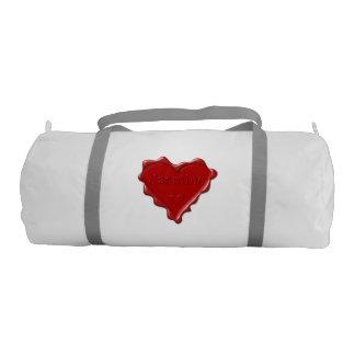 Jasmine. Red heart wax seal with name Jasmine Gym Bag