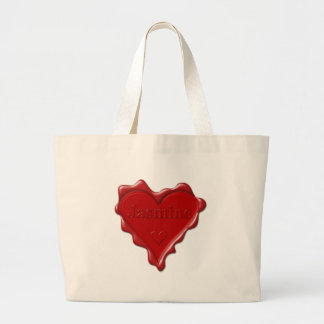 Jasmine. Red heart wax seal with name Jasmine Large Tote Bag