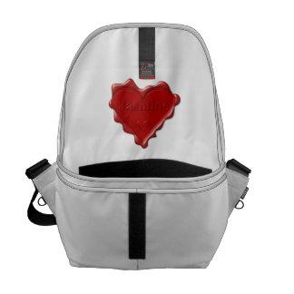 Jasmine. Red heart wax seal with name Jasmine Messenger Bag