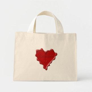 Jasmine. Red heart wax seal with name Jasmine Mini Tote Bag