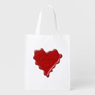 Jasmine. Red heart wax seal with name Jasmine Reusable Grocery Bag