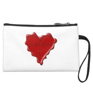 Jasmine. Red heart wax seal with name Jasmine Suede Wristlet
