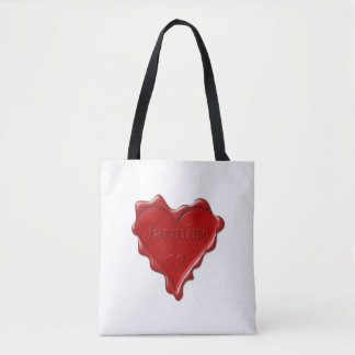 Jasmine. Red heart wax seal with name Jasmine Tote Bag