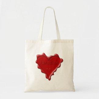 Jasmine. Red heart wax seal with name Jasmine Tote Bag
