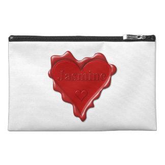 Jasmine. Red heart wax seal with name Jasmine Travel Accessory Bag