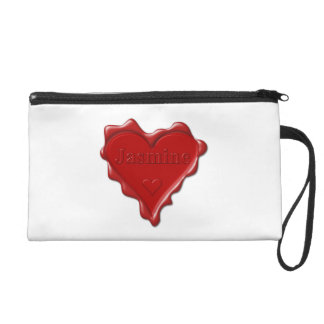 Jasmine. Red heart wax seal with name Jasmine Wristlet Purse