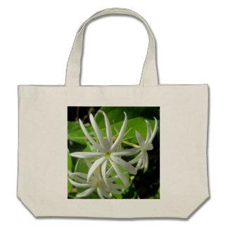 Jasmine White Green Flower Canvas Bag
