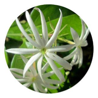 Jasmine White Green Flower 5.25x5.25 Square Paper Invitation Card