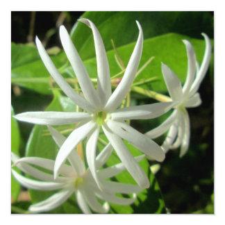 "Jasmine White Green Flower 5.25"" Square Invitation Card"