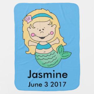 Jasmine's Personalized Mermaid Baby Blanket