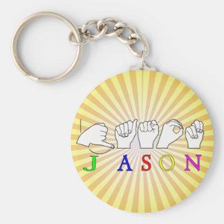 JASON NAME SIGN ASL FINGERSPELLED BASIC ROUND BUTTON KEY RING