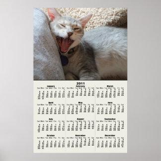 Jasper Yawning Kitten 2011 Calendar Poster