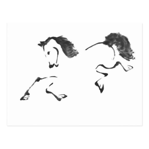 Jaunt - Horse Sumi-e Painting Post Cards