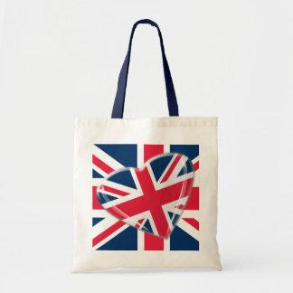 Jaunty Heart Union Jack Flag Art Tote Bag