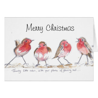 Jaunty little robins christmas card