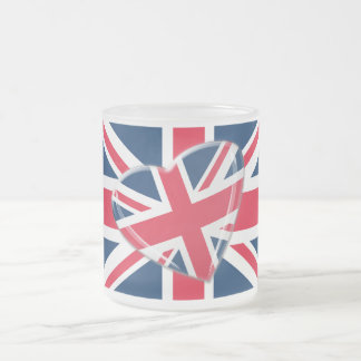 Jaunty Union Jack Flag and Heart Art Frosted Glass Coffee Mug