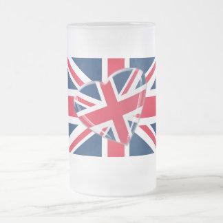 Jaunty Union Jack Heart and Flag Art Frosted Glass Mug