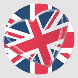 Jaunty Union Jack Heart and Flag Art Round Sticker