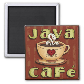 Java Cafe Square Magnet