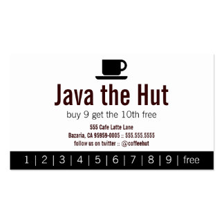 Java Logo Drink Punch Card Pack Of Standard Business Cards