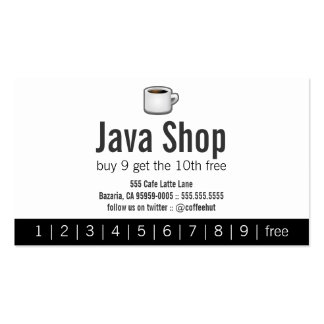Java Shop Drink Punch Card Pack Of Standard Business Cards