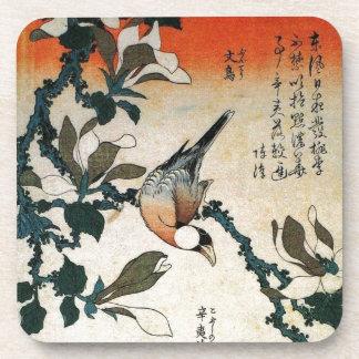 Java Sparrow and Kobushi Magnolia by Hokusai Beverage Coasters
