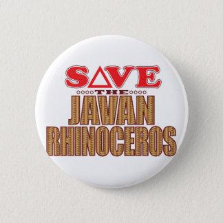 Javan Rhino Save 6 Cm Round Badge