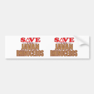 Javan Rhino Save Bumper Sticker