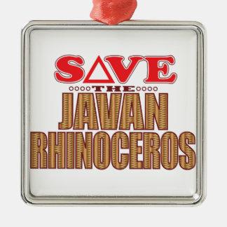 Javan Rhino Save Christmas Ornament