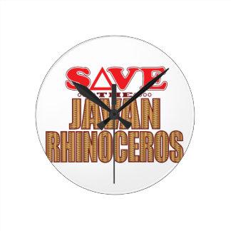Javan Rhino Save Round Clock